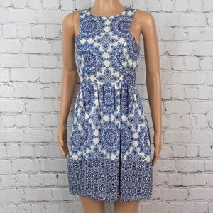 Everly blue and white dress